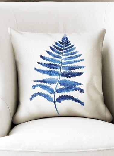 Lyn Home & Decor Mavi Geniş Düz Yaprak Yastık Kılıfı Renkli
